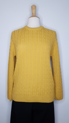 Round Neck Cable Jumper - Mustard