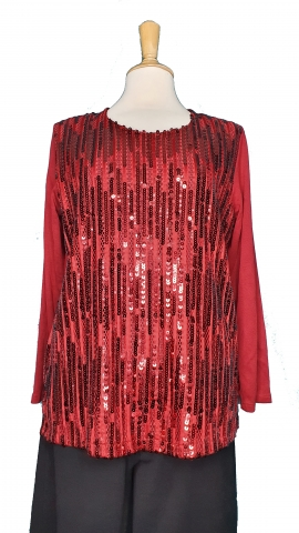 Maroon Red Sequence Top