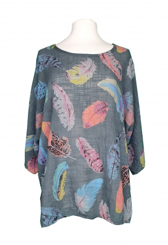 Statement Feather Top - Grey