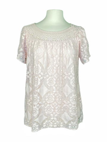 Solid Lace Top in Dusty Pink