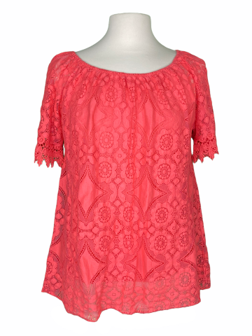 Off The shoulder Lace Top in Coral