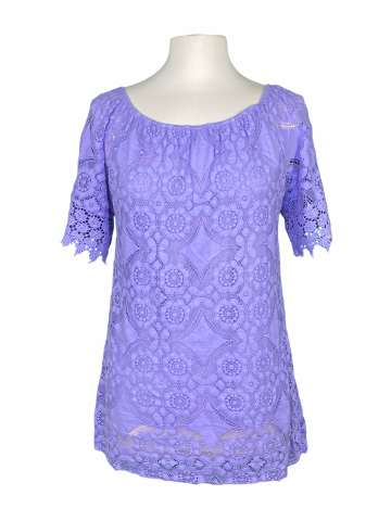 Off The shoulder Lace Top in Lavender