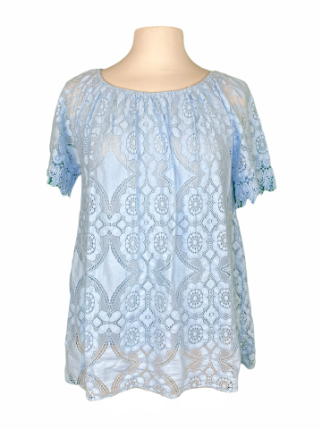 Off The shoulder Lace Top in Soft Blue