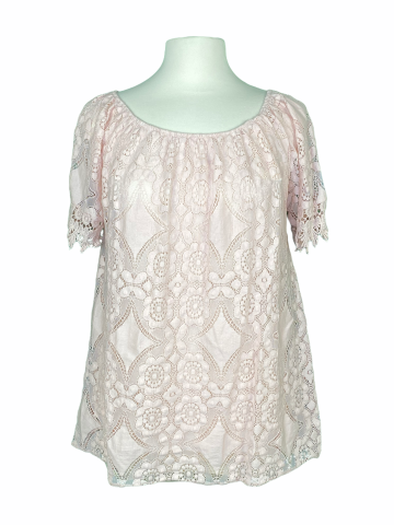 Off The shoulder Lace Top in Dusty Pink