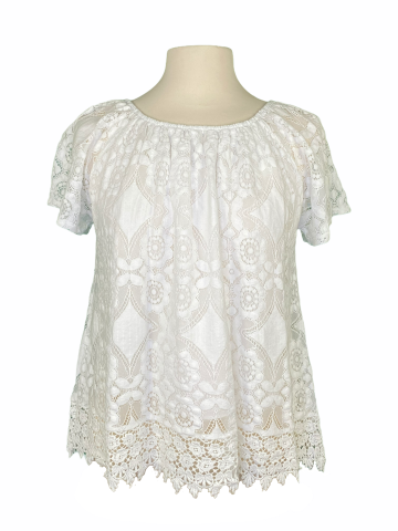 Off The shoulder Lace Top in White