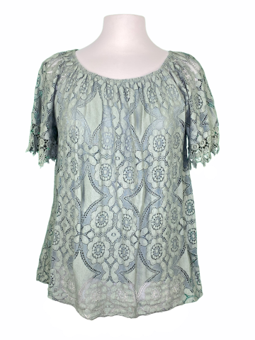Off The shoulder Lace Top in Sea Green