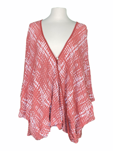 Poncho Style Top in Coral