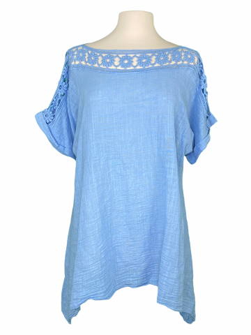 Lace Neck Top in Baby Blue
