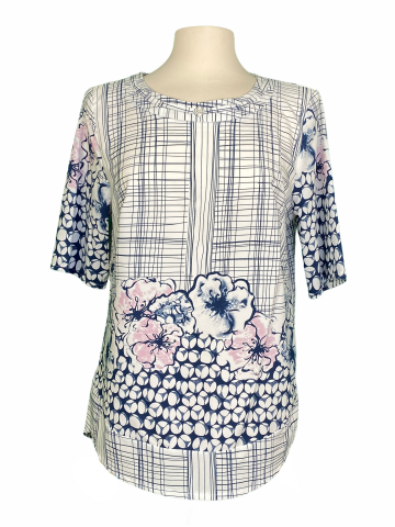 Floral Systemrical Line top Navy