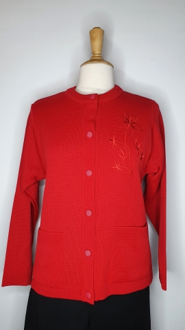Round Neck Buttoned Cardigan - Red