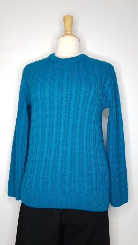 Round Neck Cable Jumper - Sea Green