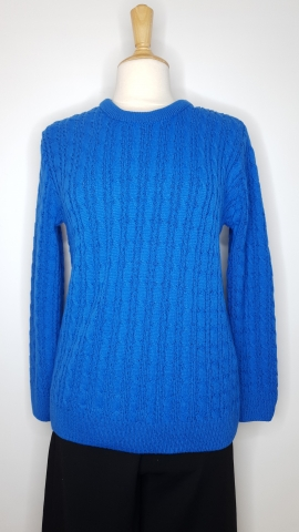 Round Neck Cable Jumper - Bright Blue