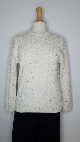Round Neck Cable Jumper - Off White