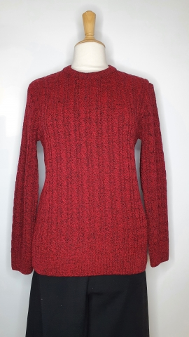 Round Neck Cable Jumper - Wine