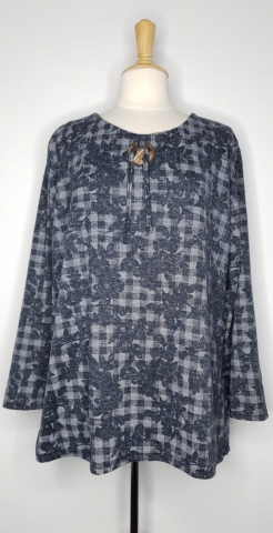 Check Flower Top - Navy