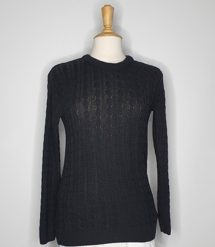Round Neck Cable Jumper - Black