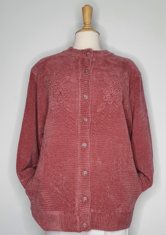 Round Neck Lined Cardigan - Pink