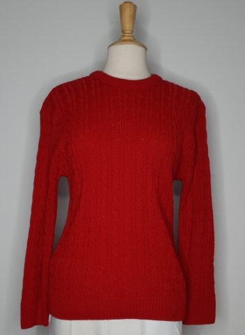 Round Neck Cable Jumper - Red