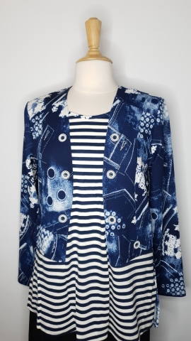 Blue & White Floral Line Pattern Top