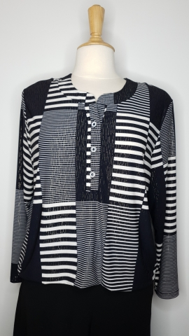 Multi Lined Patterned Top - Black/White