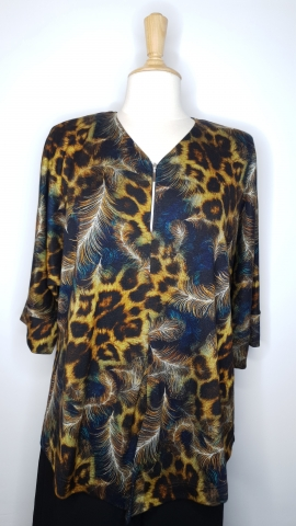 Cheetah & Feather Fusion Top