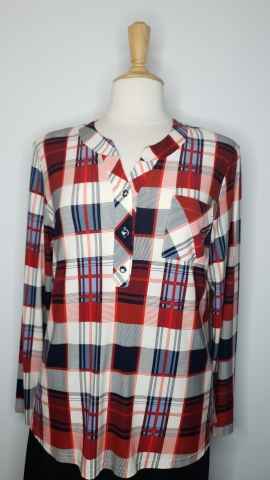 Red & White Check Pattern Top