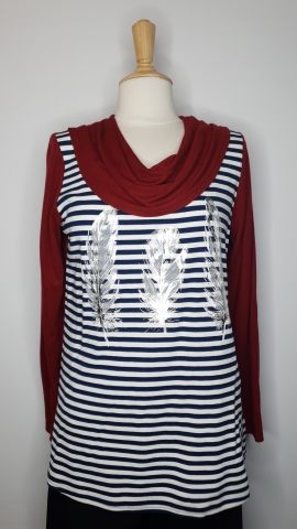 Maroon Feather Stripe Top