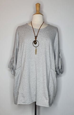 Flowy Top with Adjustable Sleeves - Grey
