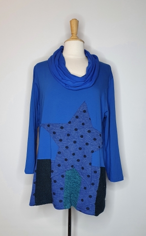 Flowy Top with Star Stitching - Blue