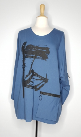 Exo-pocket Flowy Top - Pacific Blue