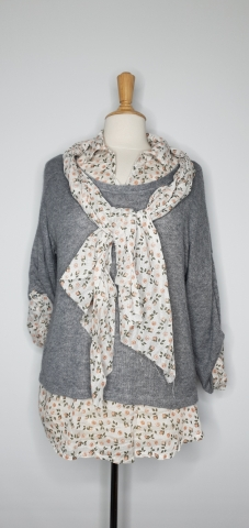 Two Piece Top with Scarf - grey