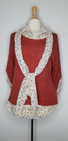 Two Piece Top with Scarf - Deep Dusty Pink
