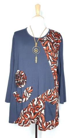 Navy Large Flower Top