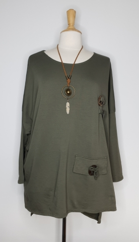 Top with Detailed Wooden Button - Khaki