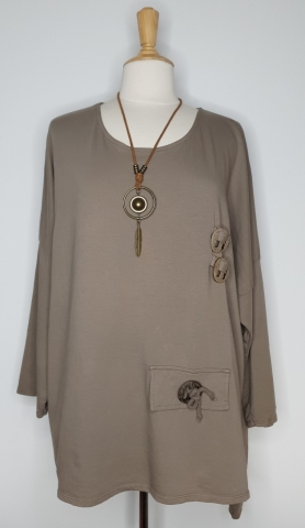 Top with Detailed Wooden Button - Light Brown