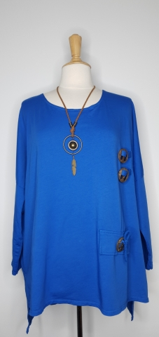 Top with Detailed Wooden Button - Blue