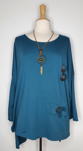 Top with Detailed Wooden Button - Teal