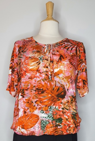 Coral Rain-forest Pattern - Tie Neck Top