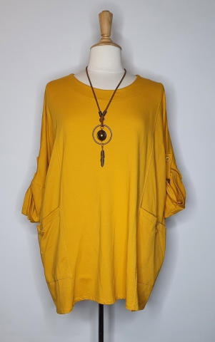 Flowy Top with Adjustable Sleeves - Mustard